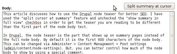 drupal split summary at cursor