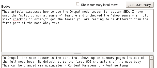 drupal split summary at cursor 2